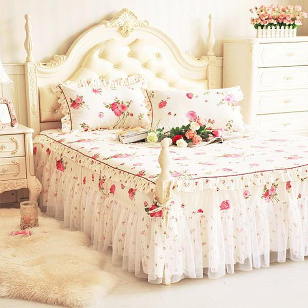DeMissir 1/3Pcs Korean Princess Floral Cotton Bed Skirt Ruffled Lace Edge Twin Full Queen King Size Skirted Bedspread Couvre Lit