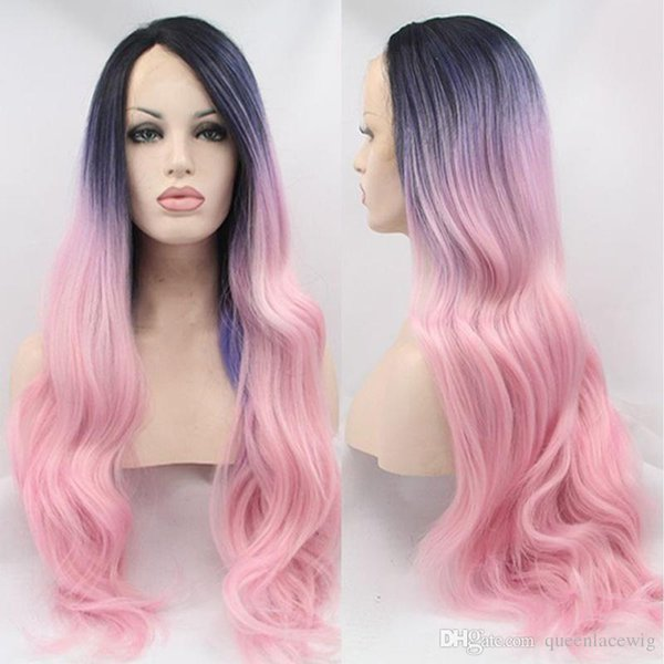 Cosplay Black Root Ombre Blue/Purple To Pink Colorful Heat Resistant Fiber Body Wavy Soft Synthetic Lace Front Wig Free Shipping