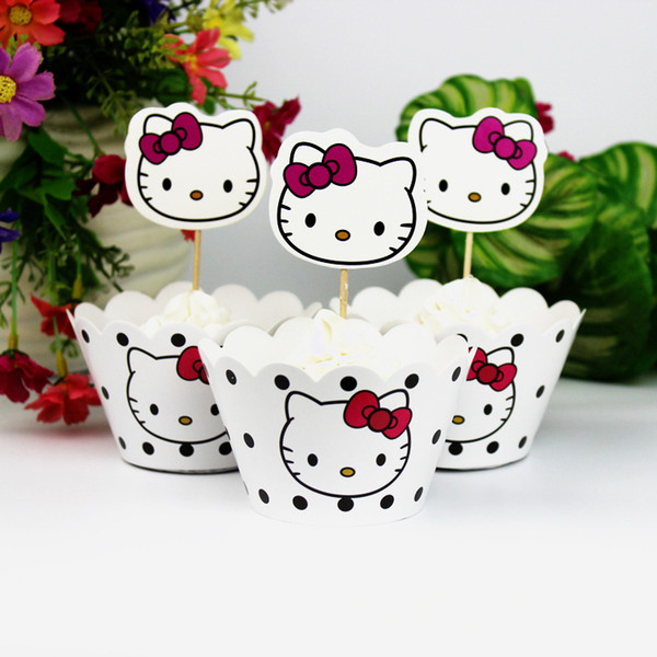 24pcs Hello Kitty White Cupcake Wrappers Cake Toppers Baby Shower Kids Children Happy Birthday Party Kitty Decorative Supplies
