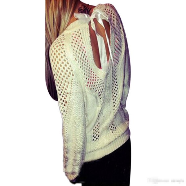 Wholesale-Women Sweaters 2016 Autumn Winter Sweater Jumper Sexy Bow Backless Hollow Out Pullovers Knitted Tops Blouse Black White