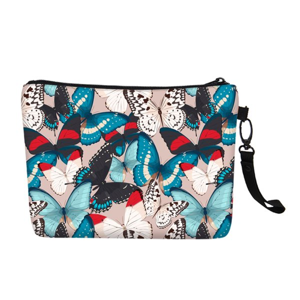 Fashion Designer Butterfly Prints Women Cosmetic Bag Canvas Make Up Case Clutch Purse School Storage Pouch Girls Christmas Gift