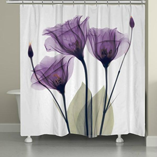 Memória Decration Início Home Decor Lavanda Moderna Esperança Flor Impressão Cortina Do Banheiro Tecido de Poliéster Impermeável Cortina de Chuveiro