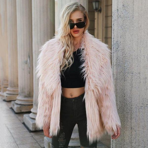 Women Furry Fur Coat Women Fluffy Warm Long Sleeve Outerwear Autumn Winter Coat Jacket Hairy Overcoat Plus Size 3XL