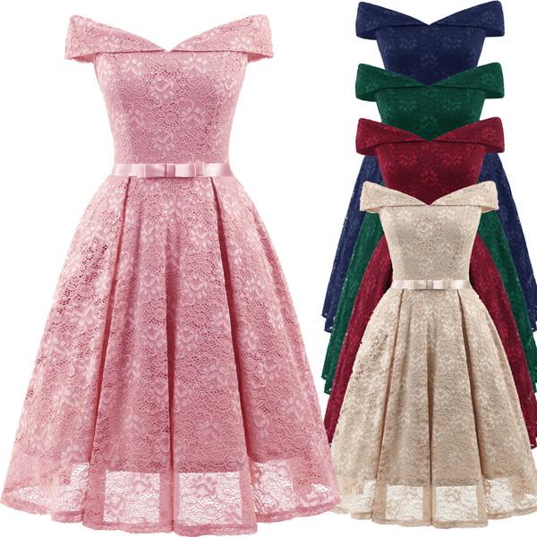 Compre Vestido De Fiesta De Oscilación De La Vendimia 50 Años 60 Fuera Del Hombro Vestido De Fiesta De Oscilación De La Oficina De Cóctel De Las