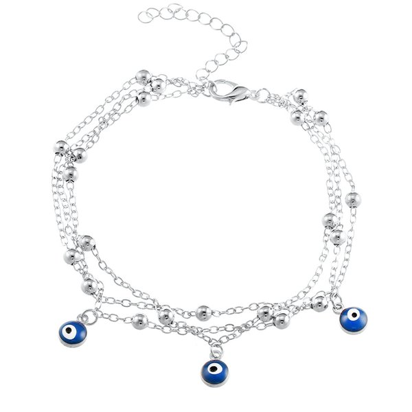 top popular Handmade Gold silver color alloy beads chain Anklets For Women Vintage blue eyes Beads Anklet Leg Bracelet Boho summer beach foot Jewelry 2019