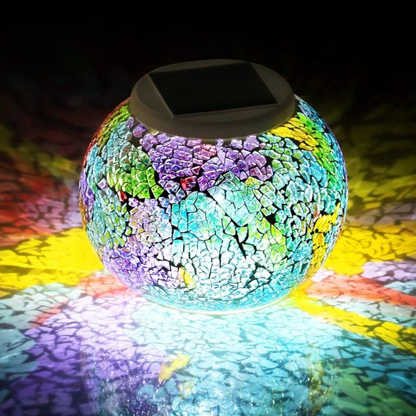 Color Changing Solar Powered Glass Ball LED Garden Lights Rechargeable Table Light Outdoor Waterproof Night Lamp Decoration