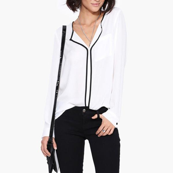2016 autunno moda donna casual bianco scollo a V manica lunga camicetta in chiffon lato nero camicia da lavoro donna top