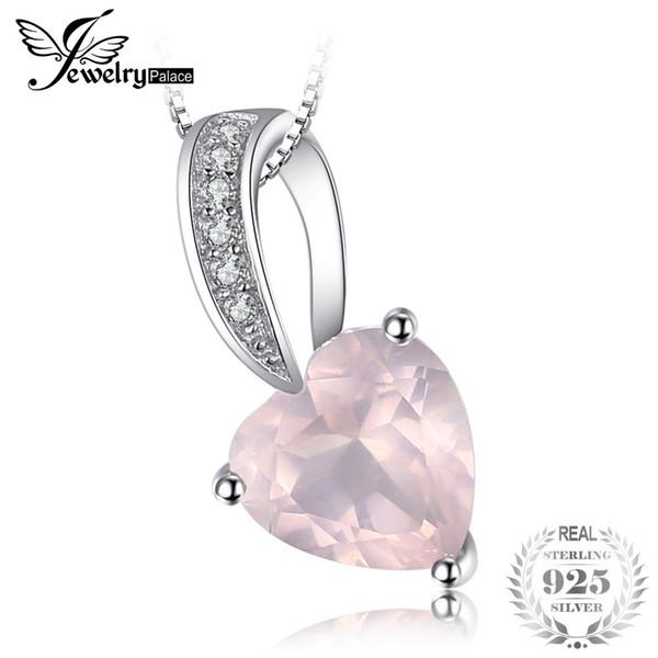 JewelryPalace Love Heart 1ct Naturel Rose Quartz Pendentif Réel En Argent Sterling 925 Pas Inclure Une Chaîne Romantique Fine Jewelry S18101307