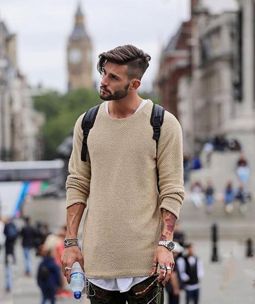 2018 Mens Fashion Trend Clothing Black Khaki Sweaters Man Autumn Crew Neck Thin Sweater Free Shipping