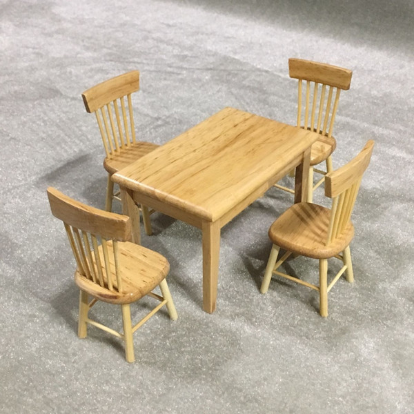 5pcs 1/12 Dollhouse Miniature Dining Table Chair Wooden Furniture Set (Wood Color)