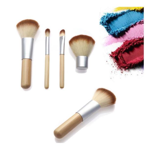 Set di 4 pennelli per trucco in bambù Set di pennelli per ombretti Cosmetici Pennello per sfumare Trucco Pennelli con borsa