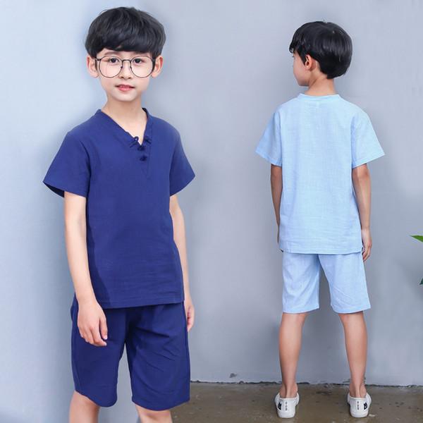 Kids Clothing Boys Summer Cotton Linen Set Chinese Style T-shirt+Shorts Big Boys 2 pcs Suit Children Casua