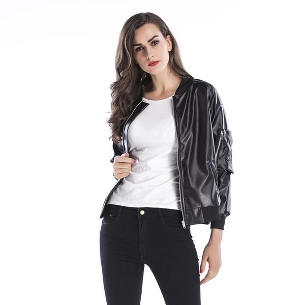 Women Motorcycle Casual Faux Leather Jacket Female Autumn Winter Solid Black Zipper Fashion Streetwear Soft Short Coat