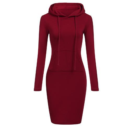 Autumn Winter Warm Sweater Long-sleeved Dress 2018 Woman Clothing Hooded Collar Pocket Design Simple Woman Dress
