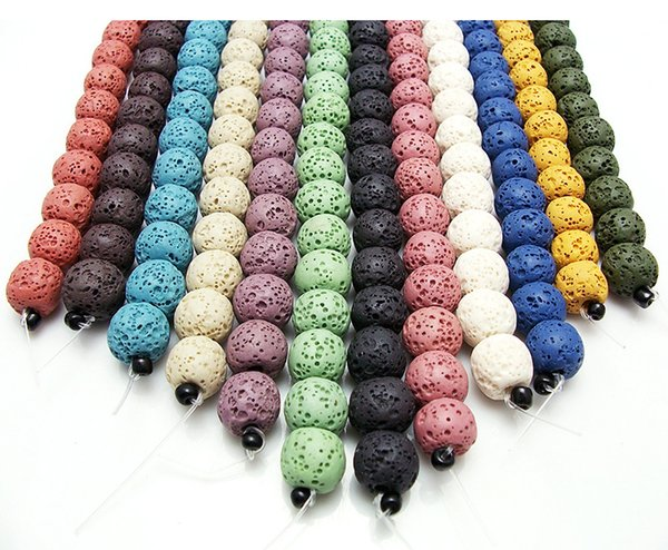 65pcs/lot 6mm Multi Color Lava Beads Natural Stone Volcanic Rock Round Loose Beads DIY Jewelry Bracelet Making Volcano Stone Bead