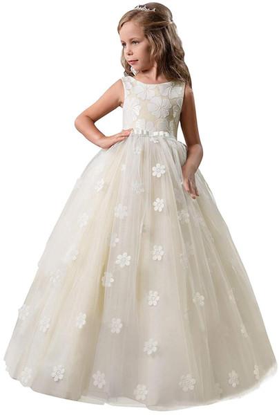 Girls Pageant Princess Flower Girl Dress Kids Prom Puffy Ball Gowns Applique