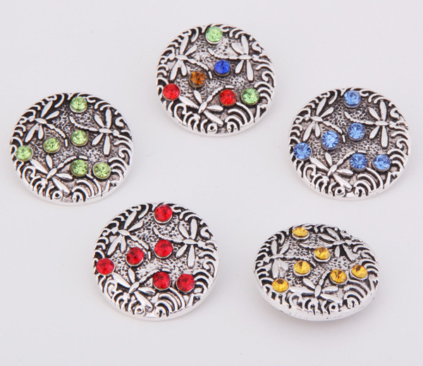 Fashion Crystal Rhinestone Dragonfly Noosa Chunks Metal Ginger 18mm Snap Buttons For Jewelry