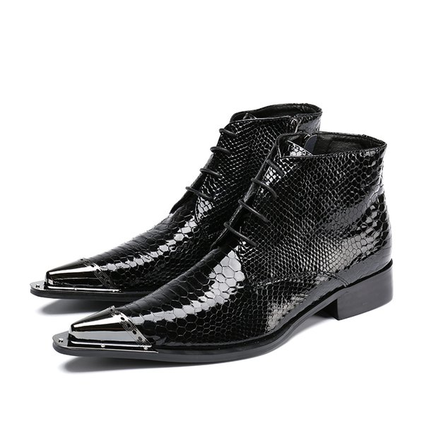 Classic Low Heels Business Men Boots Pointed Toe Black Leather Boots Men Handsome Ankle Boots for Men Wedding & Party Size 38-47
