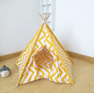 Dog Cage Pet Tent Yellow Striped Four Seasons Universal Pet Tent Cat Nest Detachable Pet House Dog Kennel