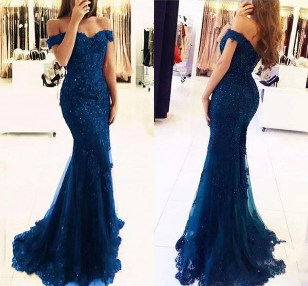 best selling 2019 Off The Shoulder Mermaid Long Evening Dresses Tulle Appliques Beaded Custom Made Formal Evening Gowns Prom Party Wear