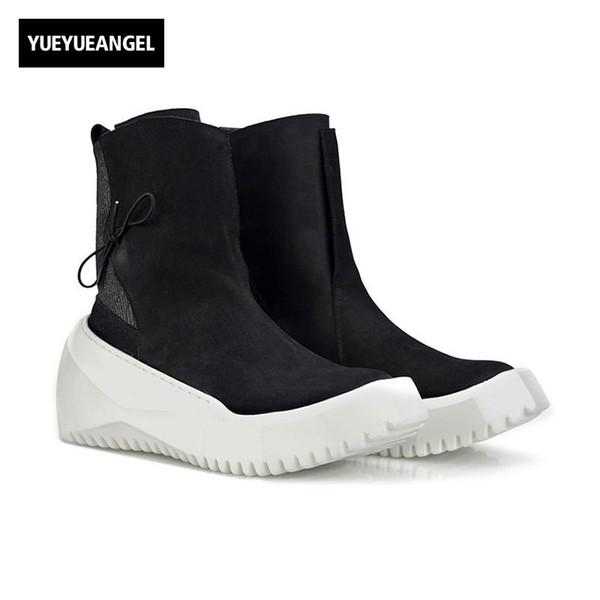 Style punk vente chaude mens Creeper bout rond Slip On Boots bottes chaussures hiver haute aide chaussures vintage, plus la taille 38-44 noir