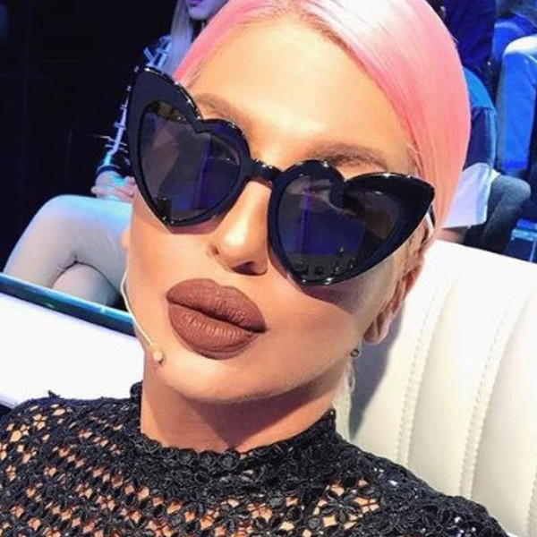 ROYAL GIRL Newest Love Heart Shape Sunglasses Women Vintage Black Pink Red Acetate Frame Gray Brown Lens Sun Glasses UV400 ss883