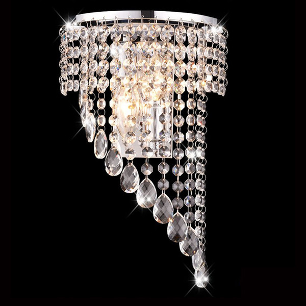 Luxury Half-Wing Crystal Hanging Bedroom Bedsides Wall light Modern Chrome Washroom wall Lamp Fixtures Stair Case Wall Sconces