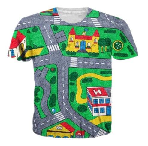 Newest Men/Women 3D Cartoon Map Kids Funny Print t shirts Short Sleeve Graphic Style T Shirt Crewneck Quick Dry Clothing Tops