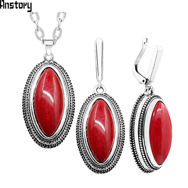 Double Layer Rhombus Red Stone Set Retro Necklace Earrings Set For Women Antique Silver Plated Fashion Jewelry