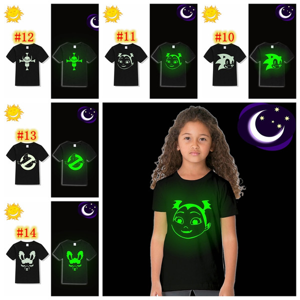 Fluorescent Luminous Kids Girl T Shirt Unicorn Birthday Party Cool T Shirt for Toddler Children Girl Summer Top Tee Glow In Dark MMA904