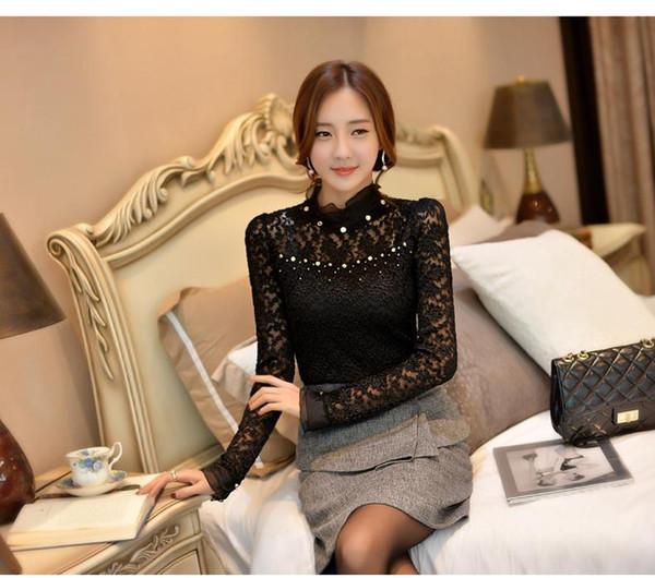 Yeni Ruffled Yaka Uzun Kollu Bluzlar Gömlek Boncuklu Artı Boyutu Dantel Kadınlar Bluz Kadınlar Giyim ile Blusas Femininas 59A0