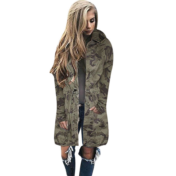 2017 Winter Ladies Kimono Bomber Jacket Windbreaker Long Oversized Army Camouflage Womens Jackets And Coats Hooded Sweat Shirts