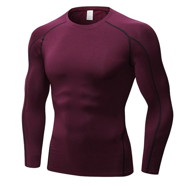 Compression Sports T Shirt Men Long Sleeve Tees Running Workout Clothes Quick Dry Male Sporting Clothing Elastic Solid Stripes