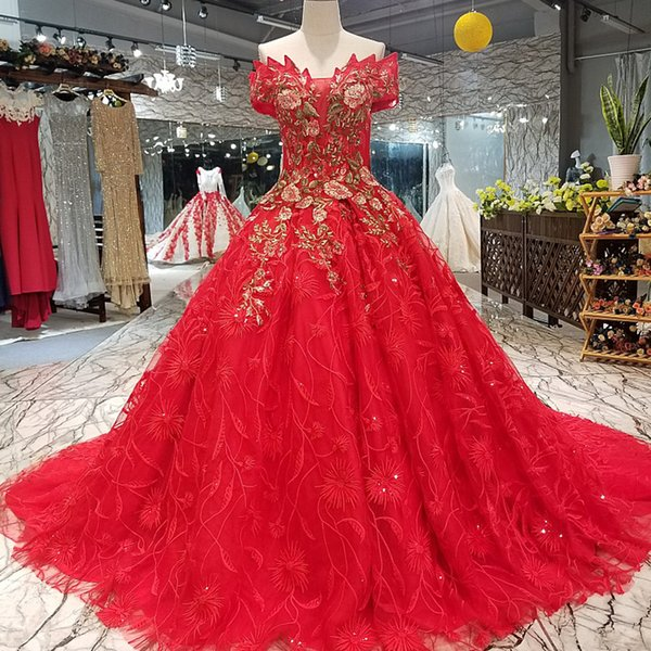 2019 Red Sexy Prom Party Dresses Off The Shoulder Sweetheart Lace Up Back Ball Gown Beauty Evening Dress Quick Shipping China Factory