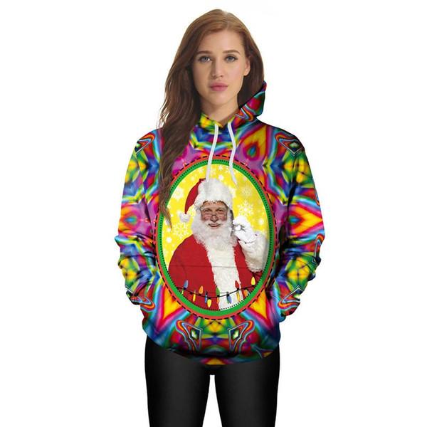 3D Printed Christmas Sweatshirt Santa Claus Hoodies Colorful Tracksuit Men/Women Hoodies Pullover Top Coat Clothes