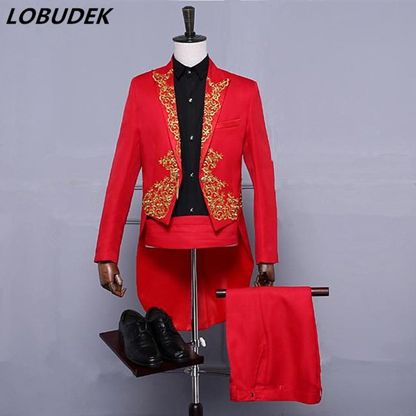(jacket+pants) Male suit men singer costume embroidery tuxedo tailcoat Swallowtail blazer Magician host prom show stage wear