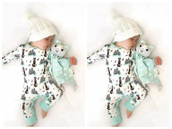 Newborn infant baby girls boy fox romper bodysuit playsuit outfits clothes 0-24M baby clothes cotton romper