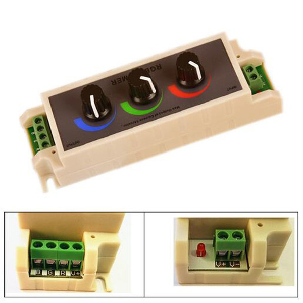 DC12-24V RGB Dimmer Stepless Adjustable LED Strip Controller Three Way Switch for 2835 3528 5050 LED Light Tape