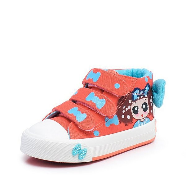 2018 New Canvas Children Sneakers Bowknot Baby Girls Princess Shoes Denim Kids Sneakers Polka Dot Flat Boots for Girls