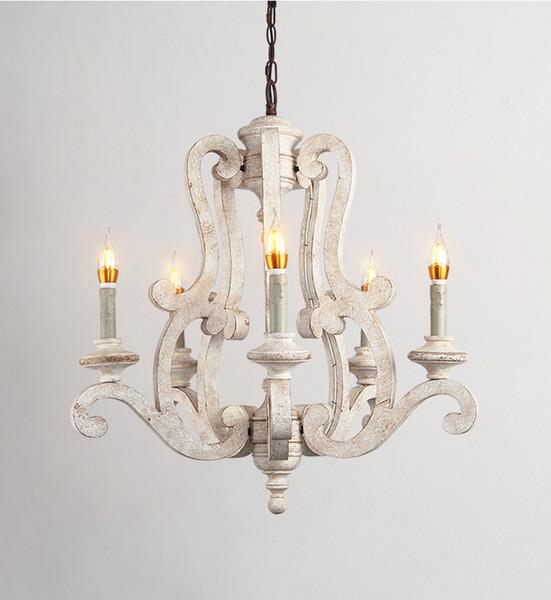 Phube Lighting Retro Lámparas de araña Lámpara de madera Luz Habitación para niños Habitación de princesa Araña Iluminación para el hogar 5 cabezas