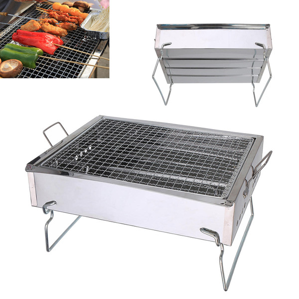 Outdoor Camping Portable Folding BBQ Barbecue Grill Stainless Steel Charcoal Burner Cooking Stove suit for 1-6 People