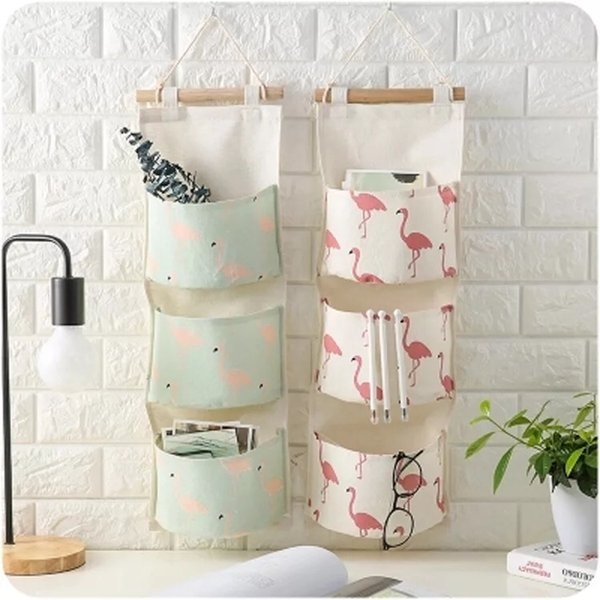 Cotton Linen Hanging Storage Bag 3 Pockets Wall Mounted Wardrobe Hanging Bag Wall Pouch Cosmetic Toys Organizer Mutl-color