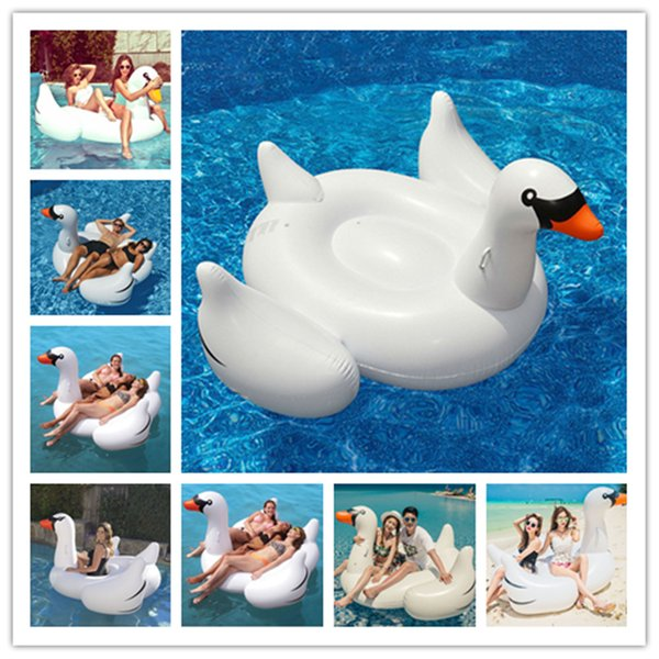 best selling 1.5M Inflatable Flamingo Float Giant Swan New Swan Inflatable Floats Swimming Ring Raft swimming pool toys For Kids And Adult