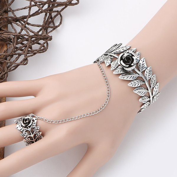 Rose Flower Charm Bracelets Ring Sets Ladies Leaf Alloy Cosplay Show Hand Chain Masquerade Hand Decor Bracelets