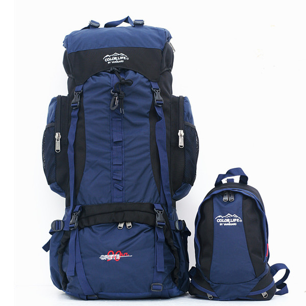 Outdoor 90L Men Women Large Capacity With 20L Kids Equipment Travel Climbing Camping Trekking Shoulders Package Two Bag Backpack