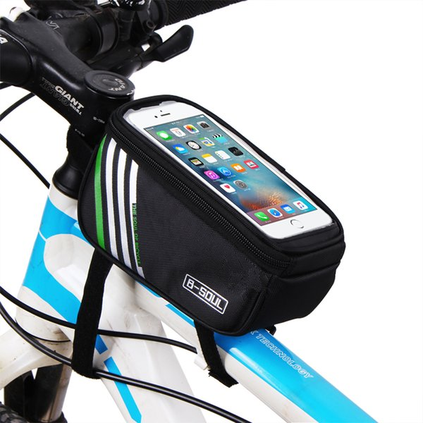 B-SOUL 5.7inch Bicycle Phone Bag Touch Screen MTB Bike Top Tube Bag Waterproof Cycling Front Frame For Mobile Phone