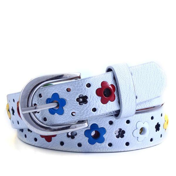Cute Kids Children Boys Girls Hollow Flower Waistband Faux Leather Belt Buckle Apparel Accessories T9