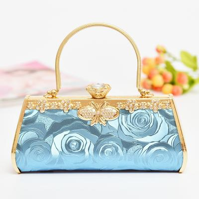Sexy Fashion women bags Evening Bags Clutch leather Diamond Floral Minaudiere Embossed Hoop banquet