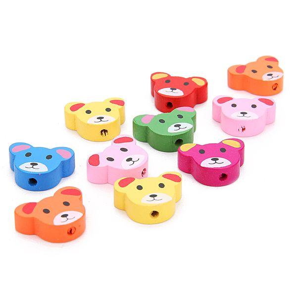top popular 100pcs colorful animal Wood Beads Lot Craft Kids Jewelry Making 15MM 2021