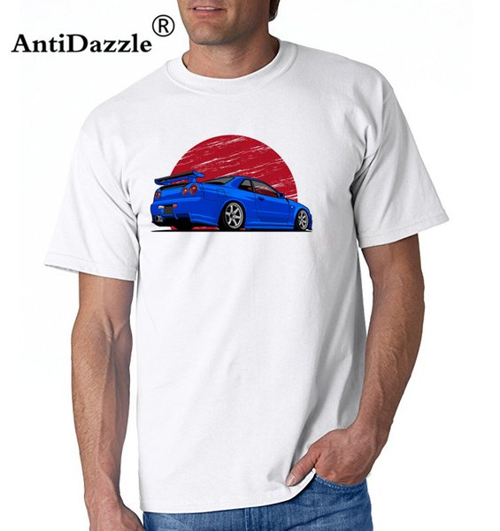 Antidazzle designer t shirt Funky Nissan Skyline R34 Hakosuka Men's Round Collar Short Sleeve Car Tee Shirts New Youth T Shirts